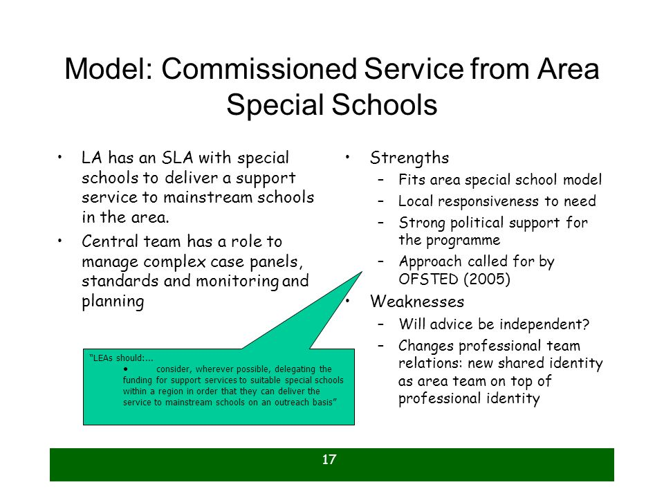 Model: Commissioned Service from Area Special Schools