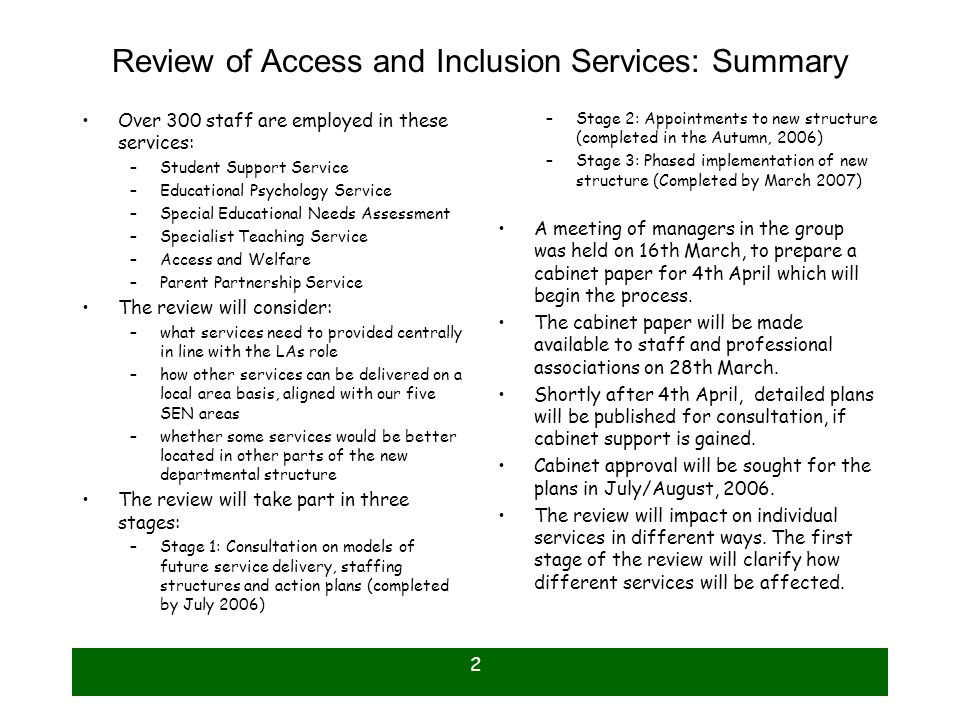 Review of Access and Inclusion Services: Summary