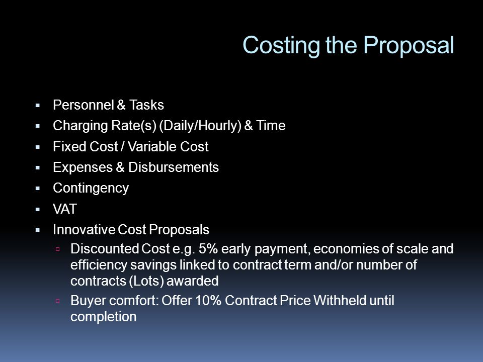 Costing the Proposal Personnel & Tasks
