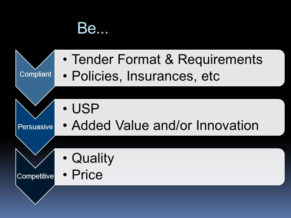 Be... Compliant Tender Format & Requirements Policies, Insurances, etc
