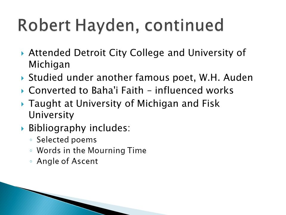 a review of the themes in the poems of robert hayden The academy of american poets is the largest membership-based  the following lesson plans from this series feature poems by classic poets,  themes afterlife.