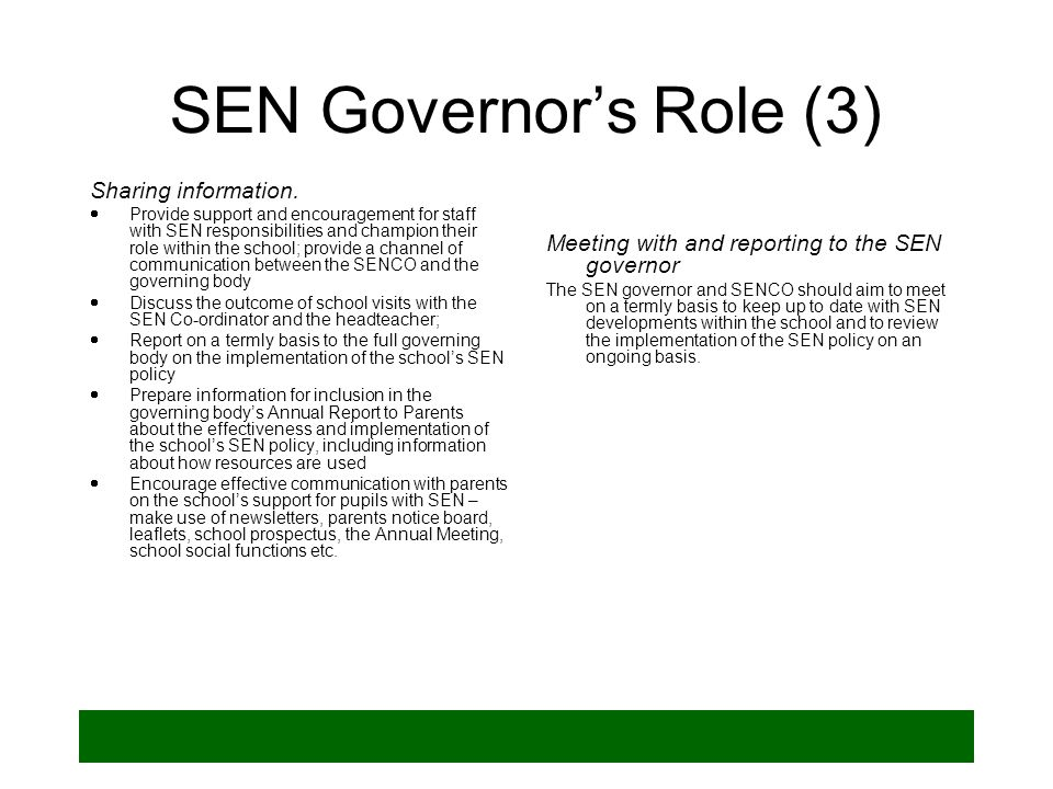 SEN Governor's Role (3) Sharing information.