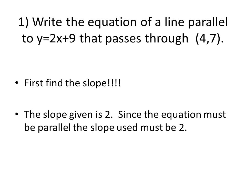 Writing Equations of Lines - ppt download