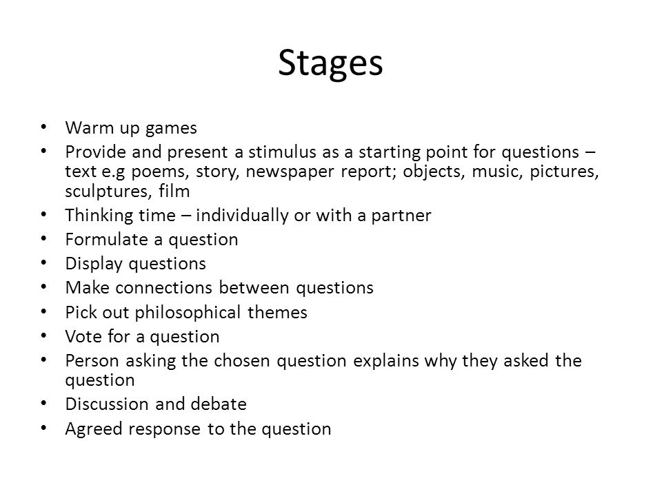 Stages Warm up games.