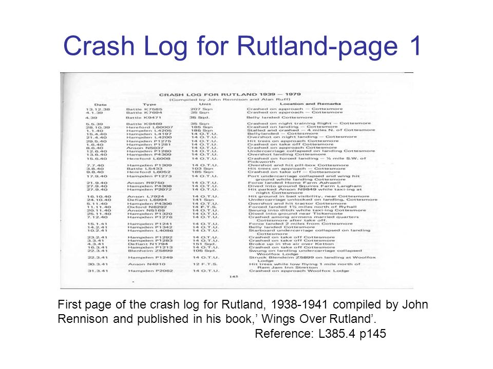 Crash Log for Rutland-page 1