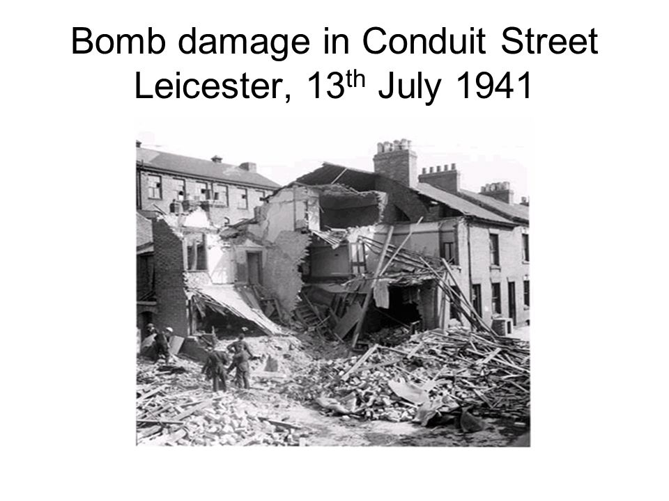 Bomb damage in Conduit Street Leicester, 13th July 1941
