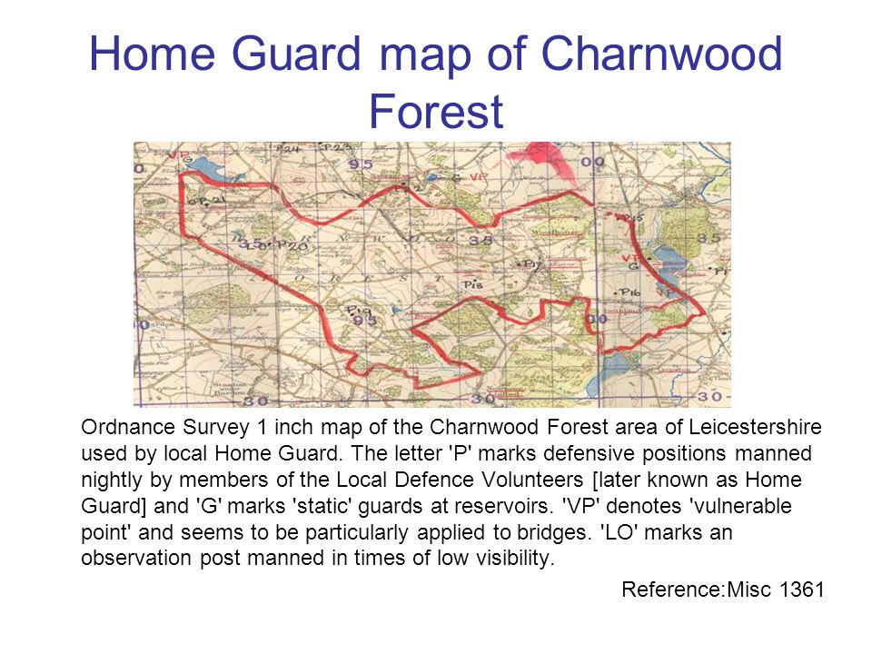 Home Guard map of Charnwood Forest