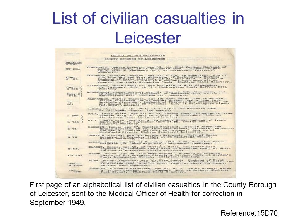 List of civilian casualties in Leicester