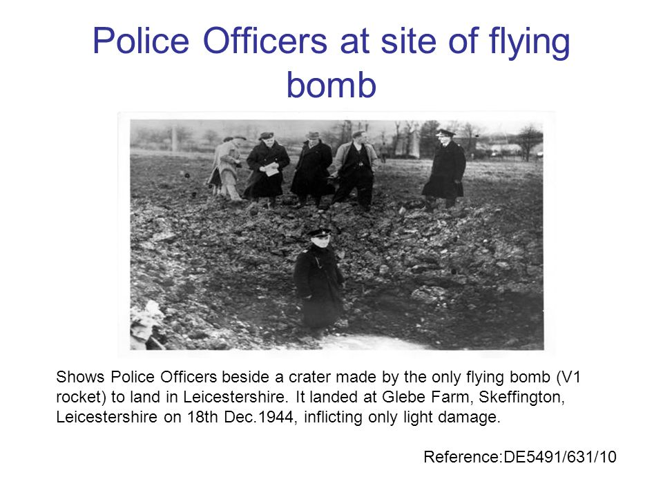 Police Officers at site of flying bomb