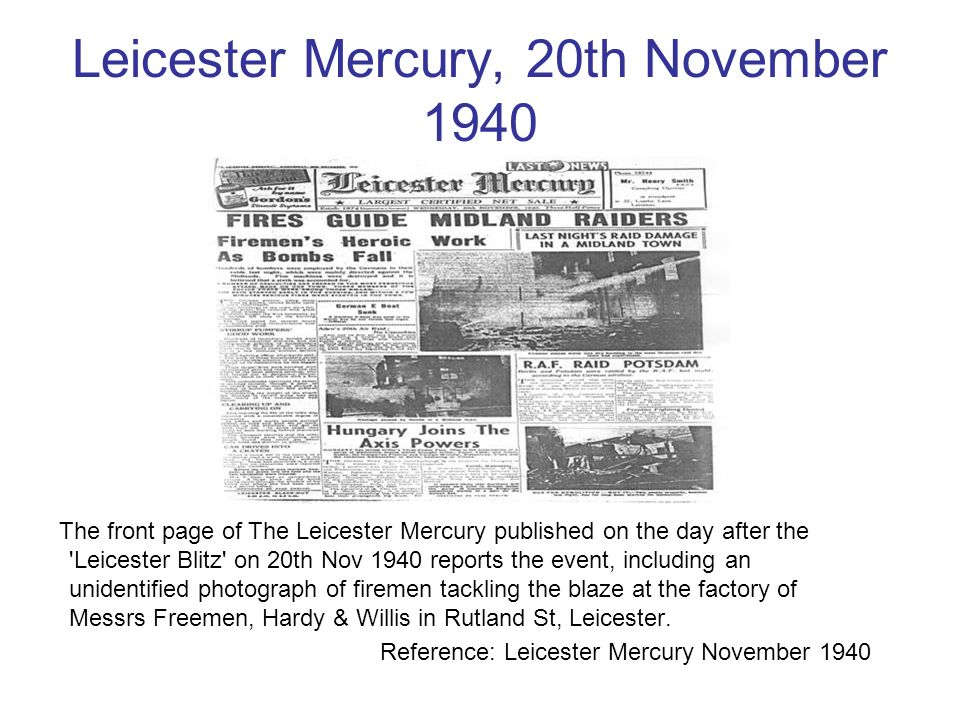 Leicester Mercury, 20th November 1940