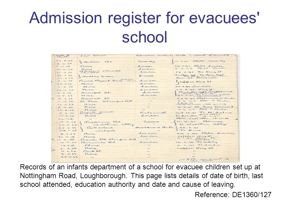 Admission register for evacuees school
