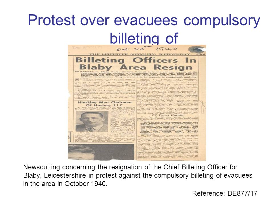 Protest over evacuees compulsory billeting of