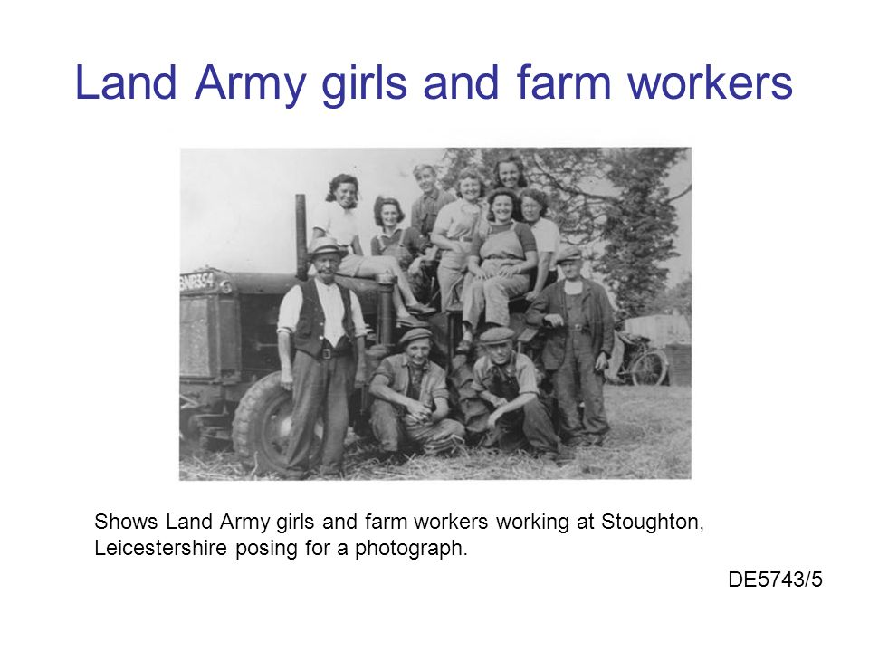 Land Army girls and farm workers