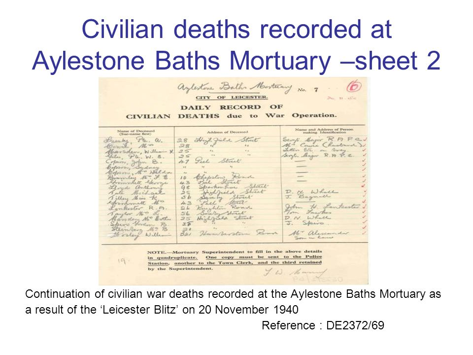 Civilian deaths recorded at Aylestone Baths Mortuary –sheet 2