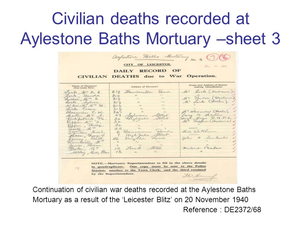 Civilian deaths recorded at Aylestone Baths Mortuary –sheet 3