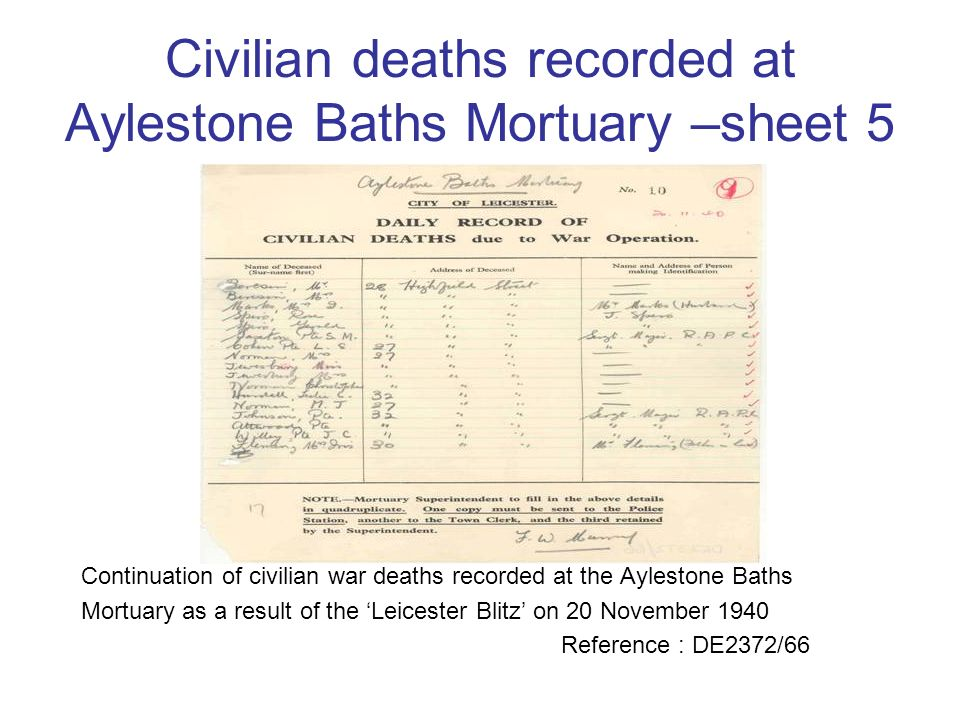 Civilian deaths recorded at Aylestone Baths Mortuary –sheet 5