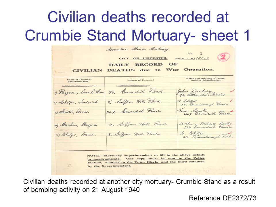 Civilian deaths recorded at Crumbie Stand Mortuary- sheet 1