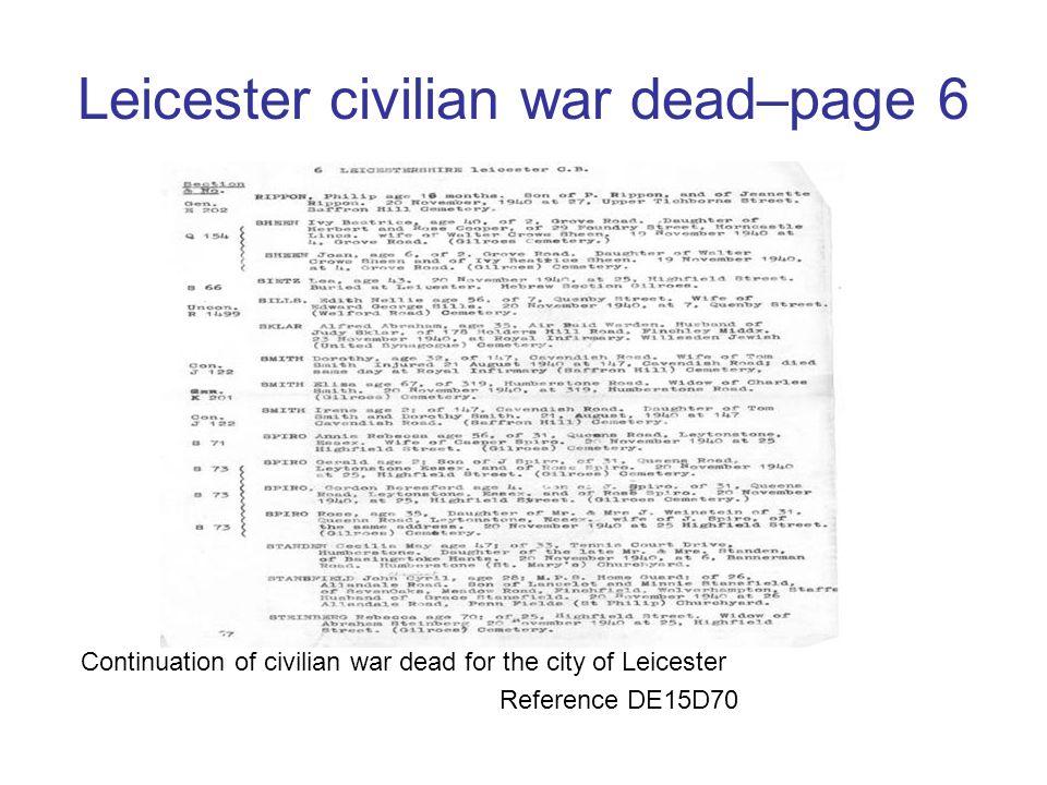 Leicester civilian war dead–page 6