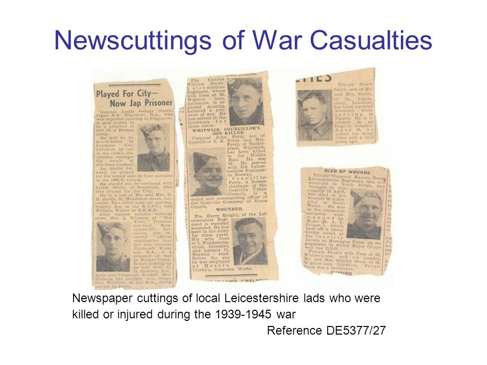 Newscuttings of War Casualties