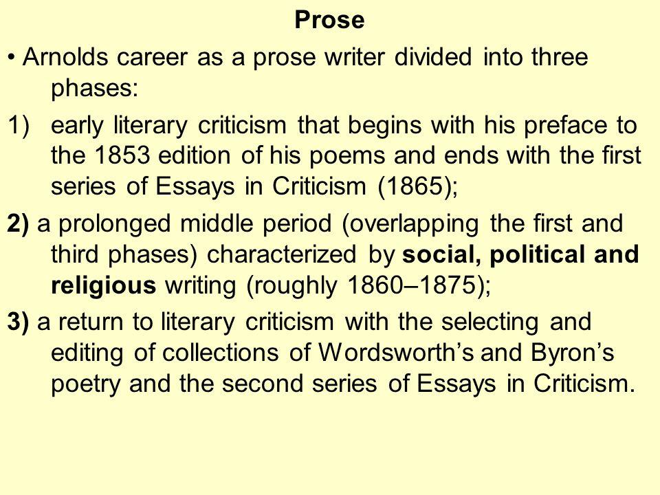 matthew arnold the bridge between r ticism and modernism  5 prose