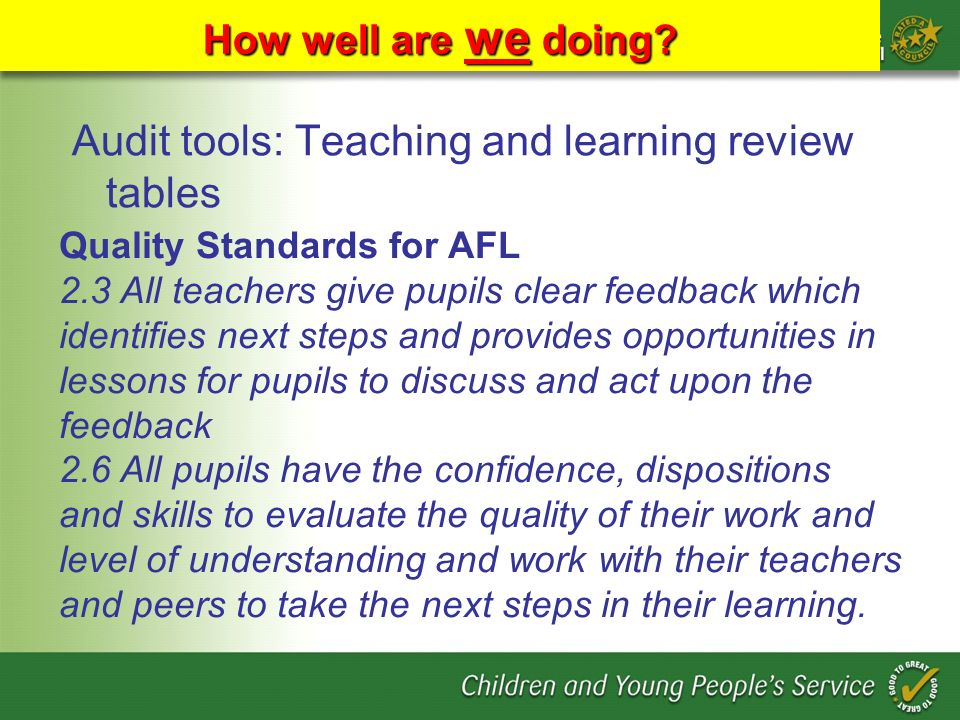 Audit tools: Teaching and learning review tables