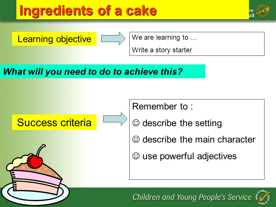 Ingredients of a cake Success criteria Learning objective