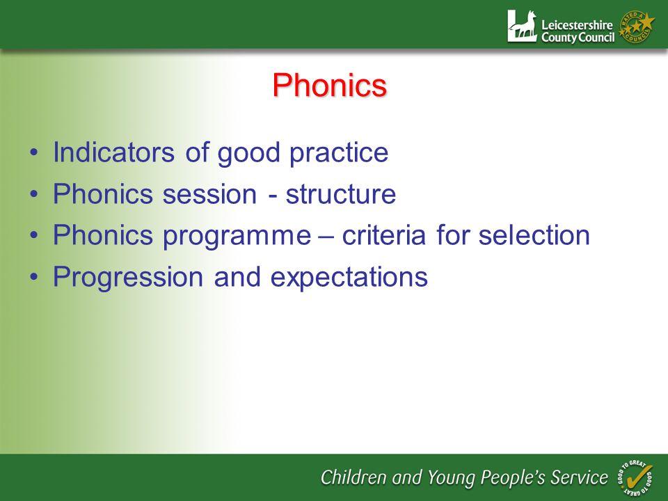 Phonics Indicators of good practice Phonics session - structure