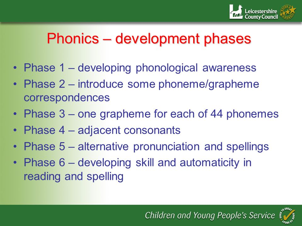 Phonics – development phases