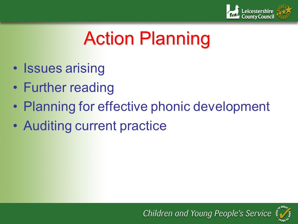 Action Planning Issues arising Further reading