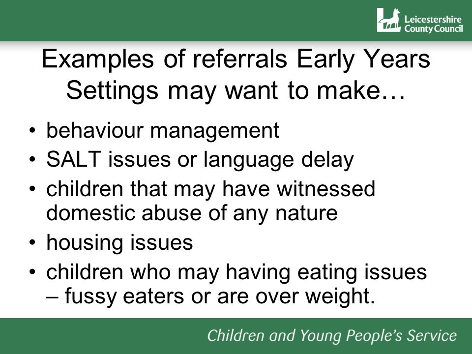 Examples of referrals Early Years Settings may want to make…
