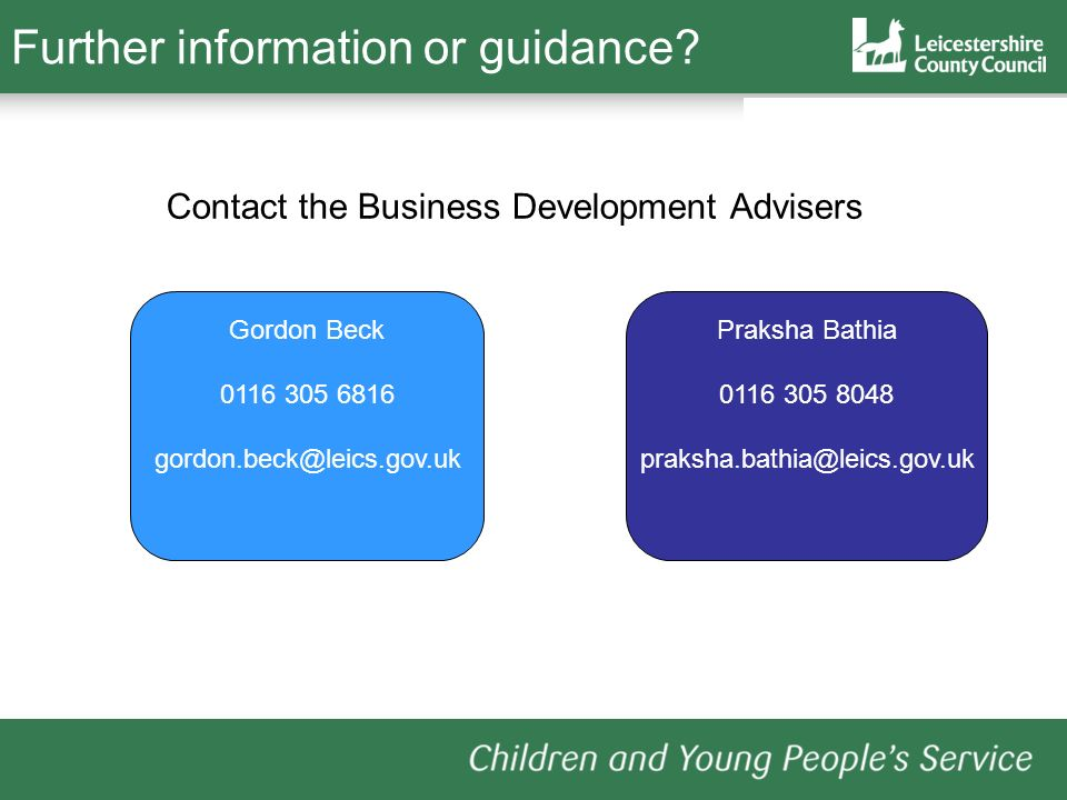 Further information or guidance