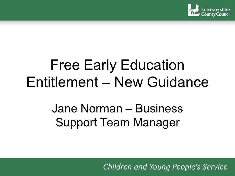 Free Early Education Entitlement – New Guidance