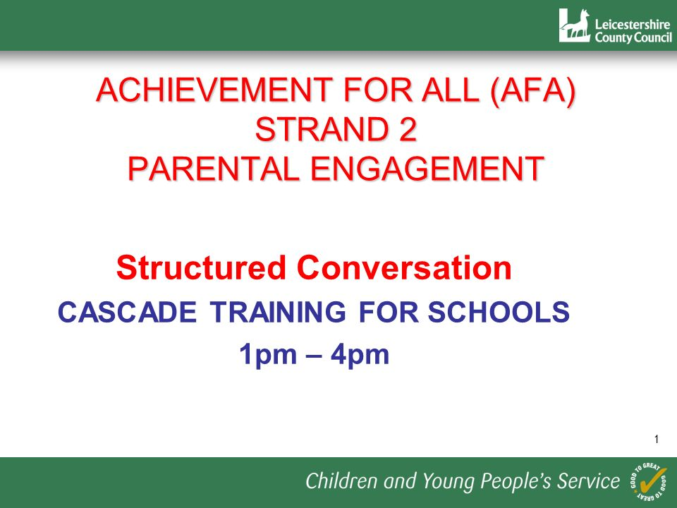 Achievement for All (AfA) Strand 2 parental engagement