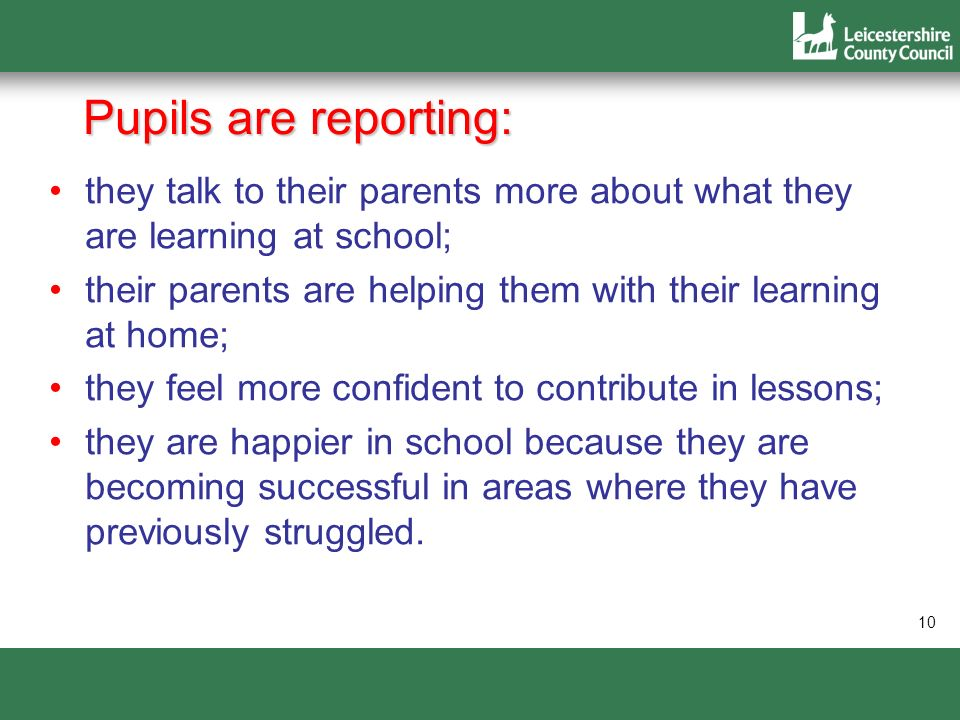 Pupils are reporting: they talk to their parents more about what they are learning at school;