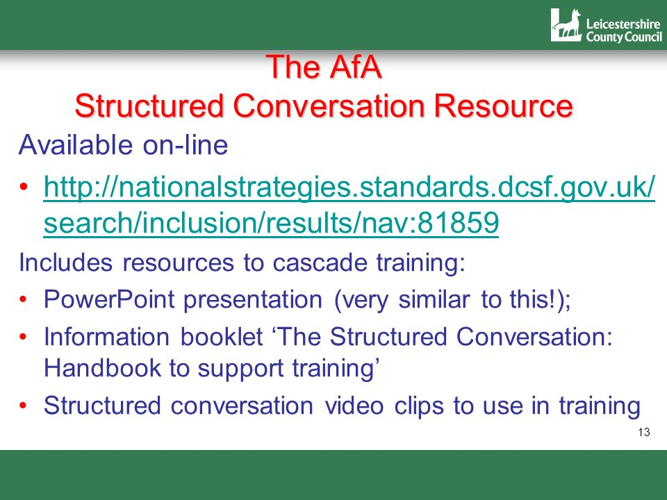 The AfA Structured Conversation Resource