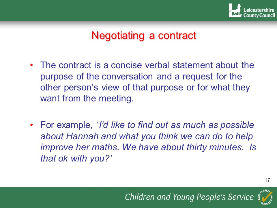 Negotiating a contract