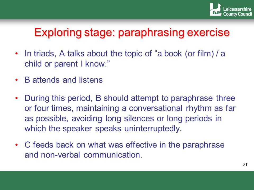 Exploring stage: paraphrasing exercise