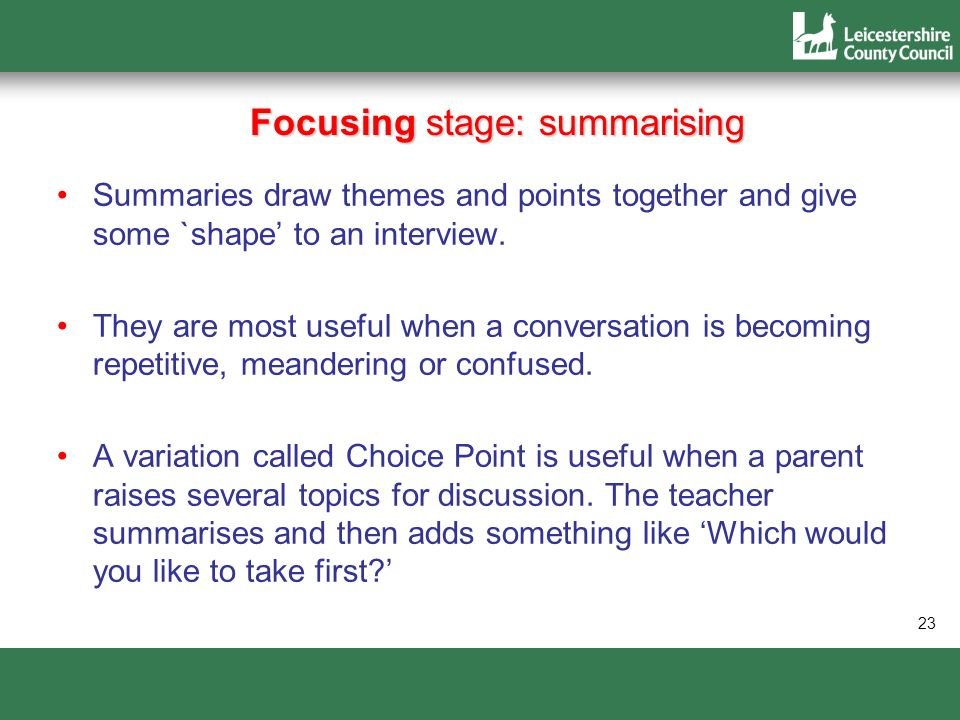 Focusing stage: summarising