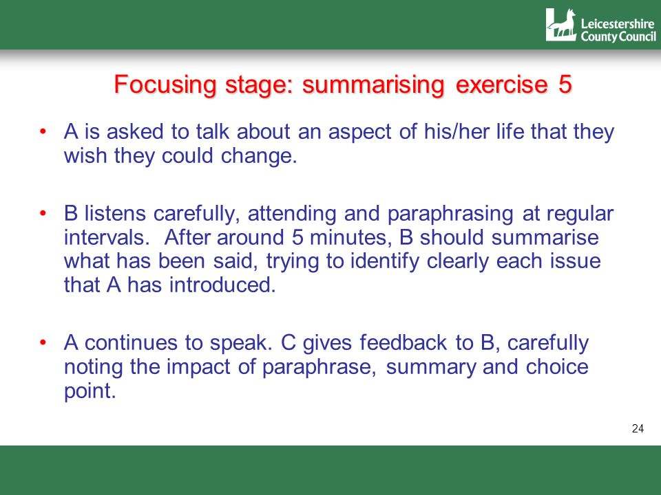 Focusing stage: summarising exercise 5