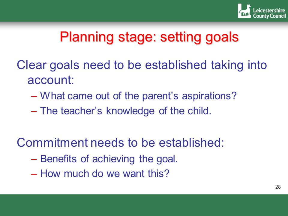 Planning stage: setting goals