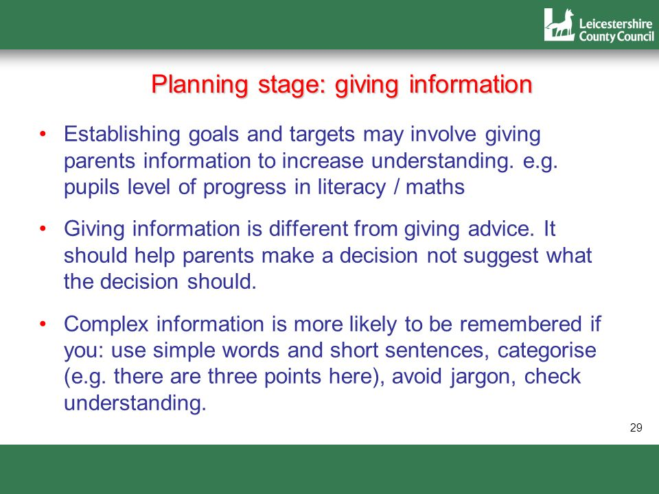 Planning stage: giving information