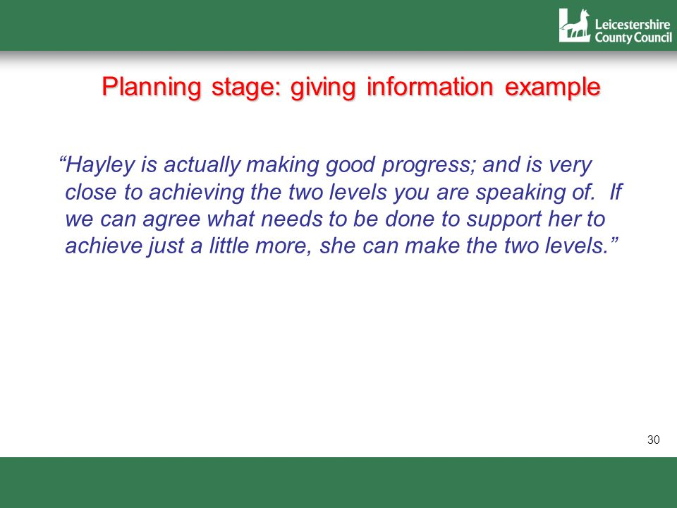 Planning stage: giving information example
