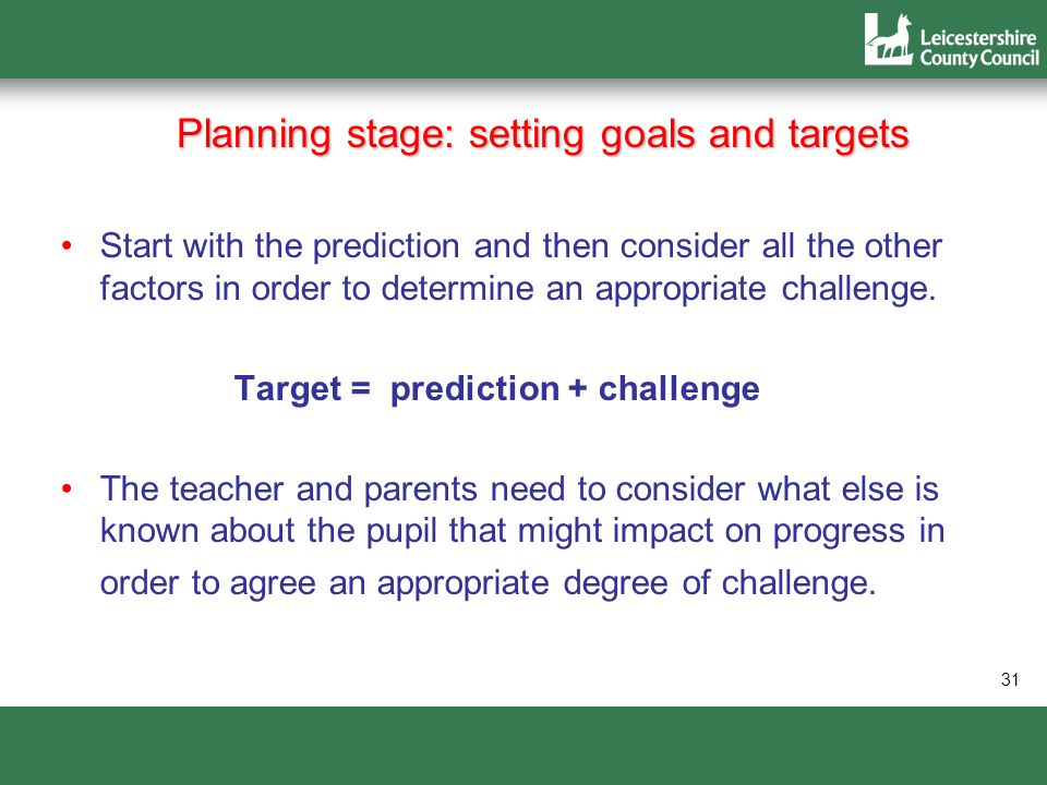 Planning stage: setting goals and targets