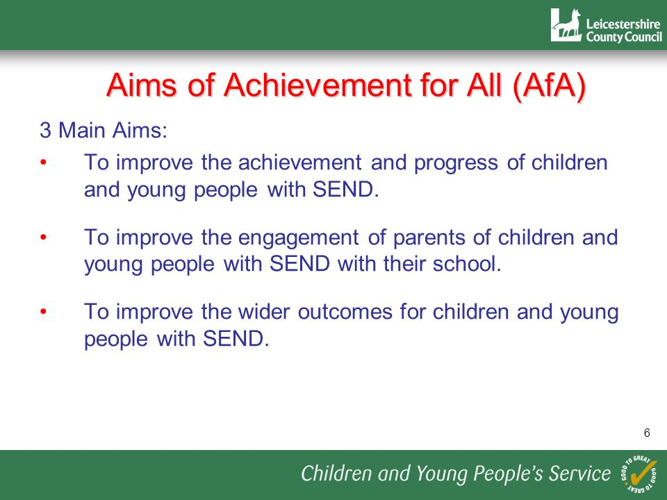 Aims of Achievement for All (AfA)