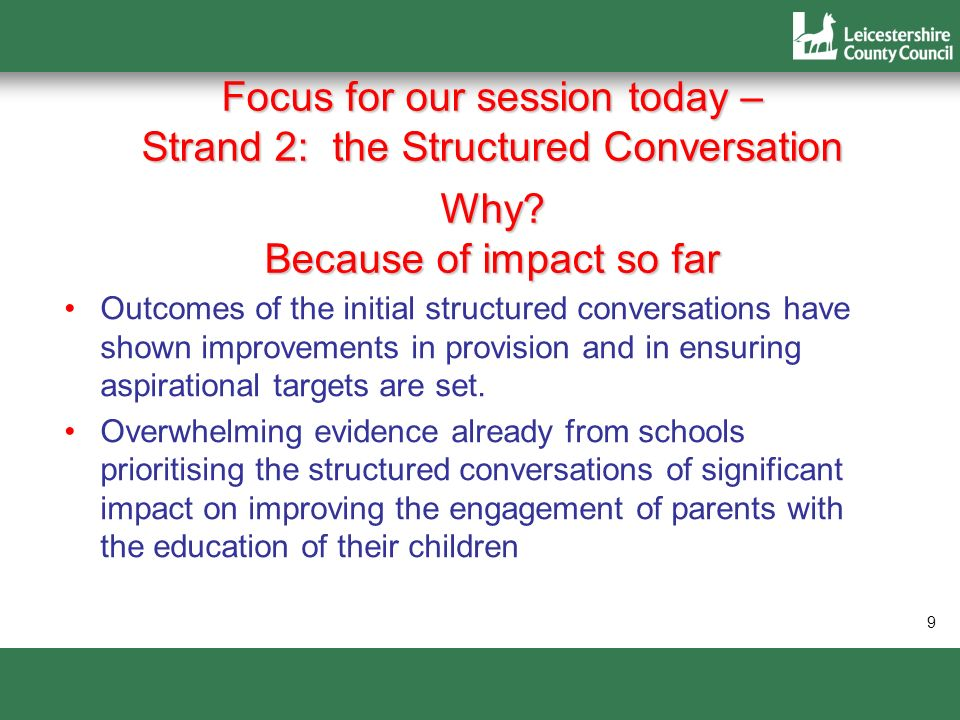 Focus for our session today – Strand 2: the Structured Conversation Why Because of impact so far