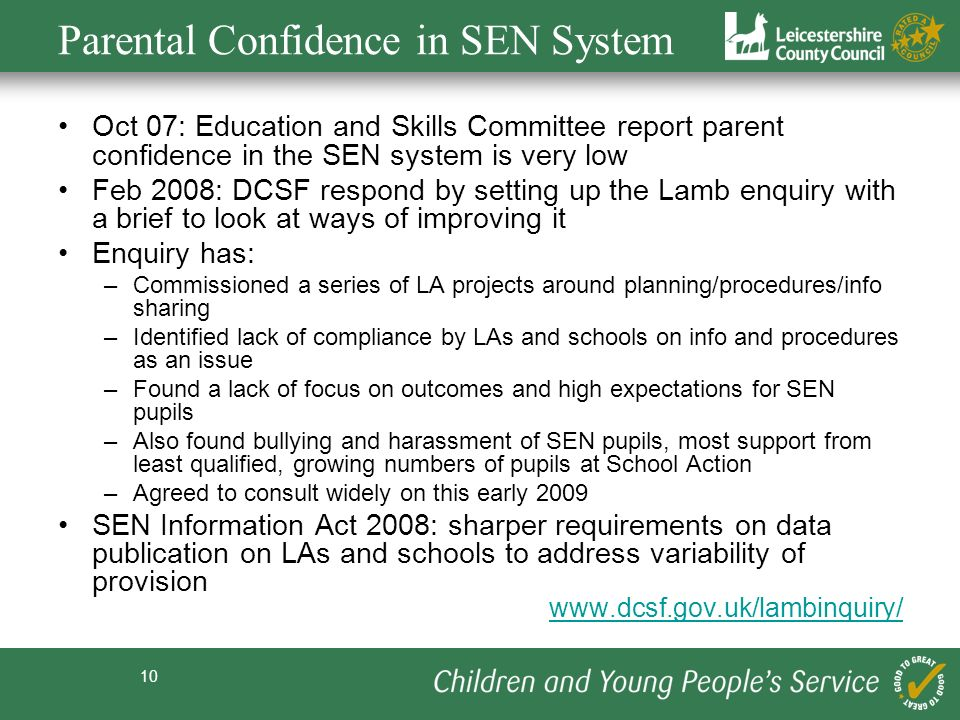 Parental Confidence in SEN System