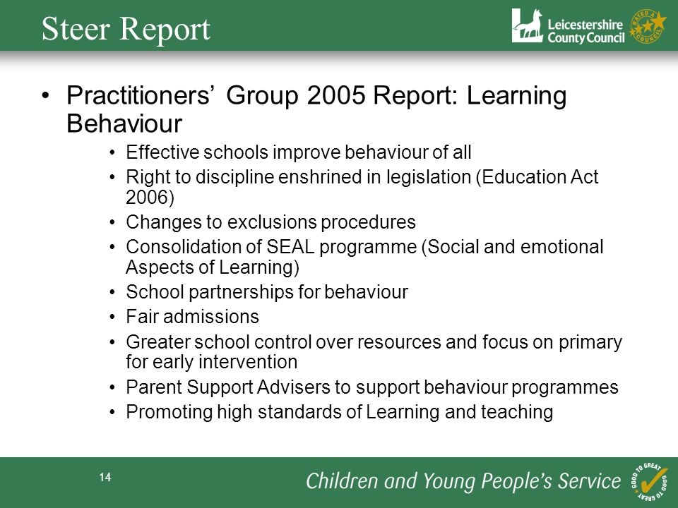 Steer Report Practitioners' Group 2005 Report: Learning Behaviour