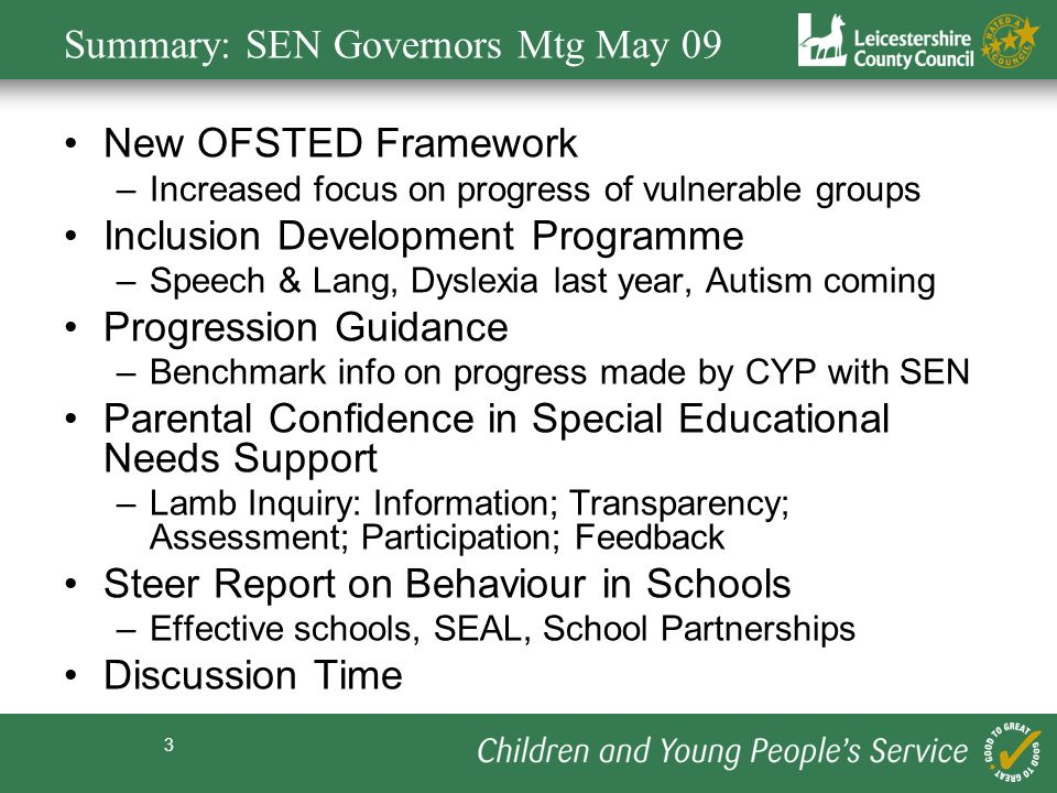 Summary: SEN Governors Mtg May 09