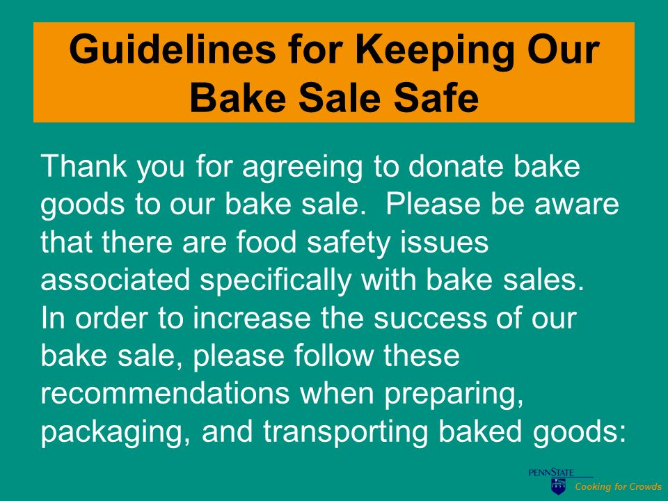 how to prepare for a bake sale
