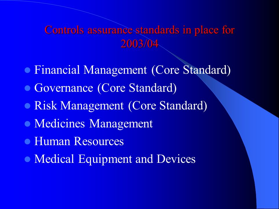 Controls assurance standards in place for 2003/04